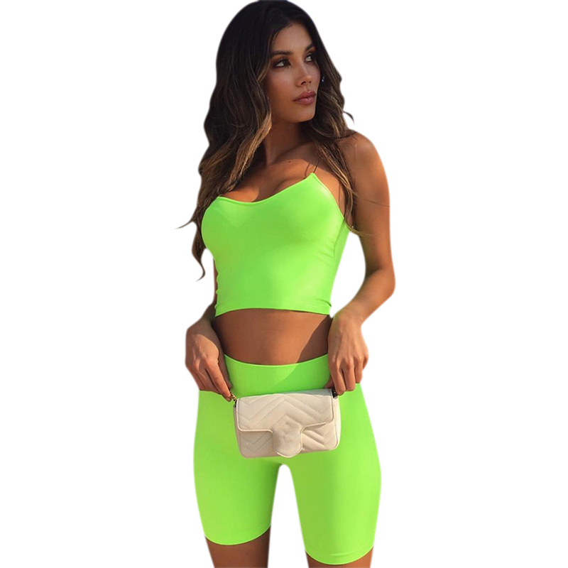 Women Sport Shorts Training Cycling Fluorescent Color Solid Color Sleeveless Short Pants Suits Set Sports Fitness Set