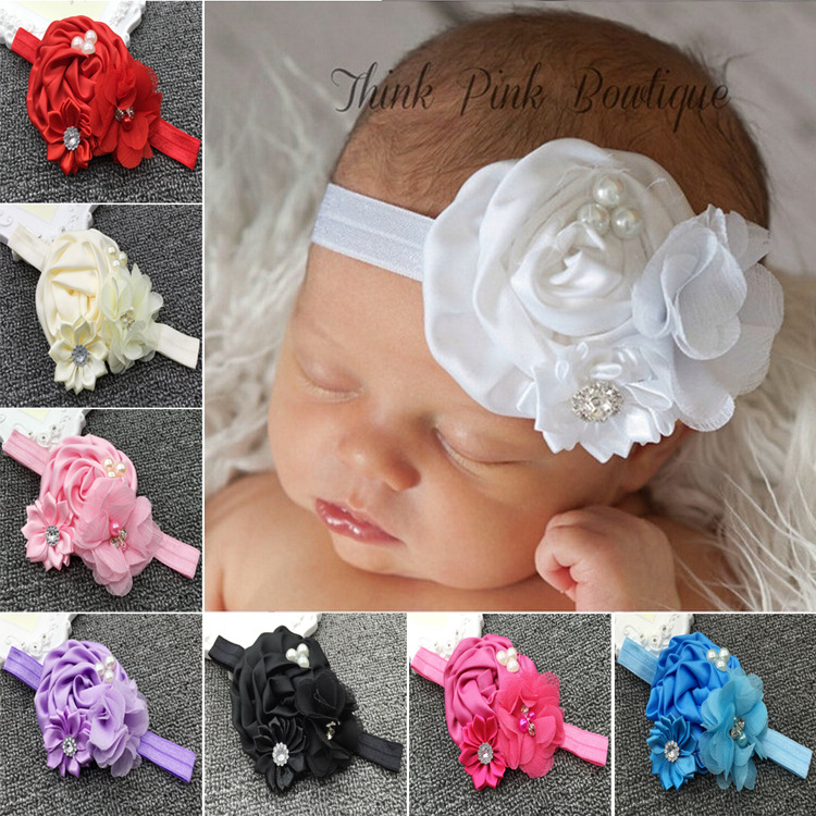653ddfb8ffa17 Élastique Bandeaux avec perle fleur bébé fille cheveux accessoires enfant  fleur rose bandeaux chapellerie