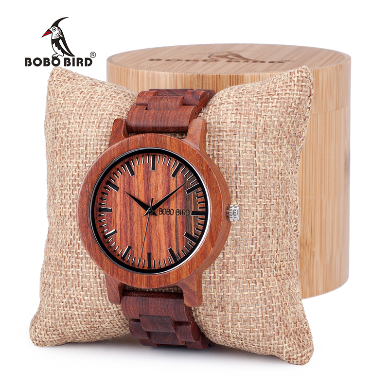 BOBO BIRD Antique Unique Design Mens Dress Red Sandalwood Quartz Watches with All Wooden Band in Gift Box Customized Logo bobo bird mens watch red sandalwood analog wooden quartz wrist watches with luxury watch famous brand in gift box free shipping