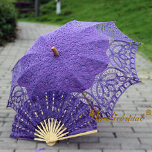Steampunk En Southern Belle Kostuums Party Decoratie Paars Kant Parasol Paraplu En Lace Fan Wedding Photo Prop Paraplu Fan(China)
