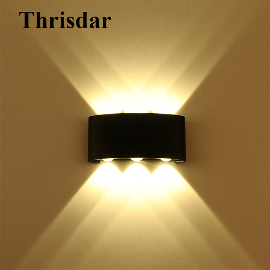Thrisdar 6W 18W Outdoor LED Wall Lamp Aluminum Waterproof Porch Light Hotel Villa Balcony Corridor Background Exterior Wall Lamp cob square led outdoor wall lamp nordic contemporary and contracted wall lamp corridor lamp exterior balcony wall lamp