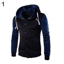 Для мужчин осень s Повседневное классический полосатый с капюшоном Бейсбол Куртка Пальто Верхняя одежда