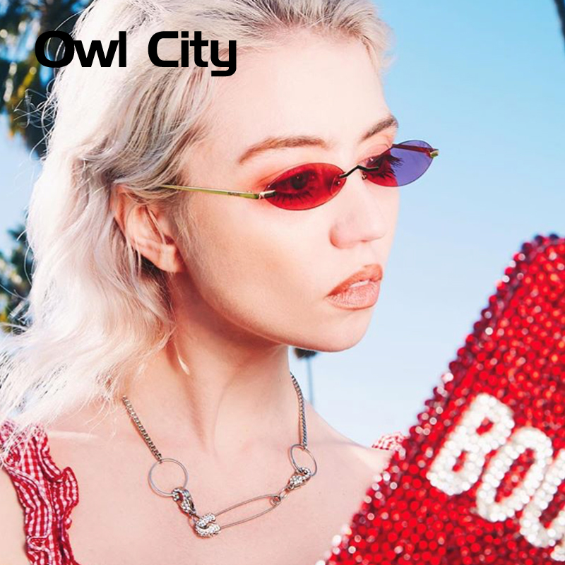 f39549f49f05 Owl City Oval Sunglasses Women Brand Designer Vintage Small Sun Glasses  Retro Rimless Luxury Ladies Sunglass Round Womens Shades-in Sunglasses from  Apparel ...