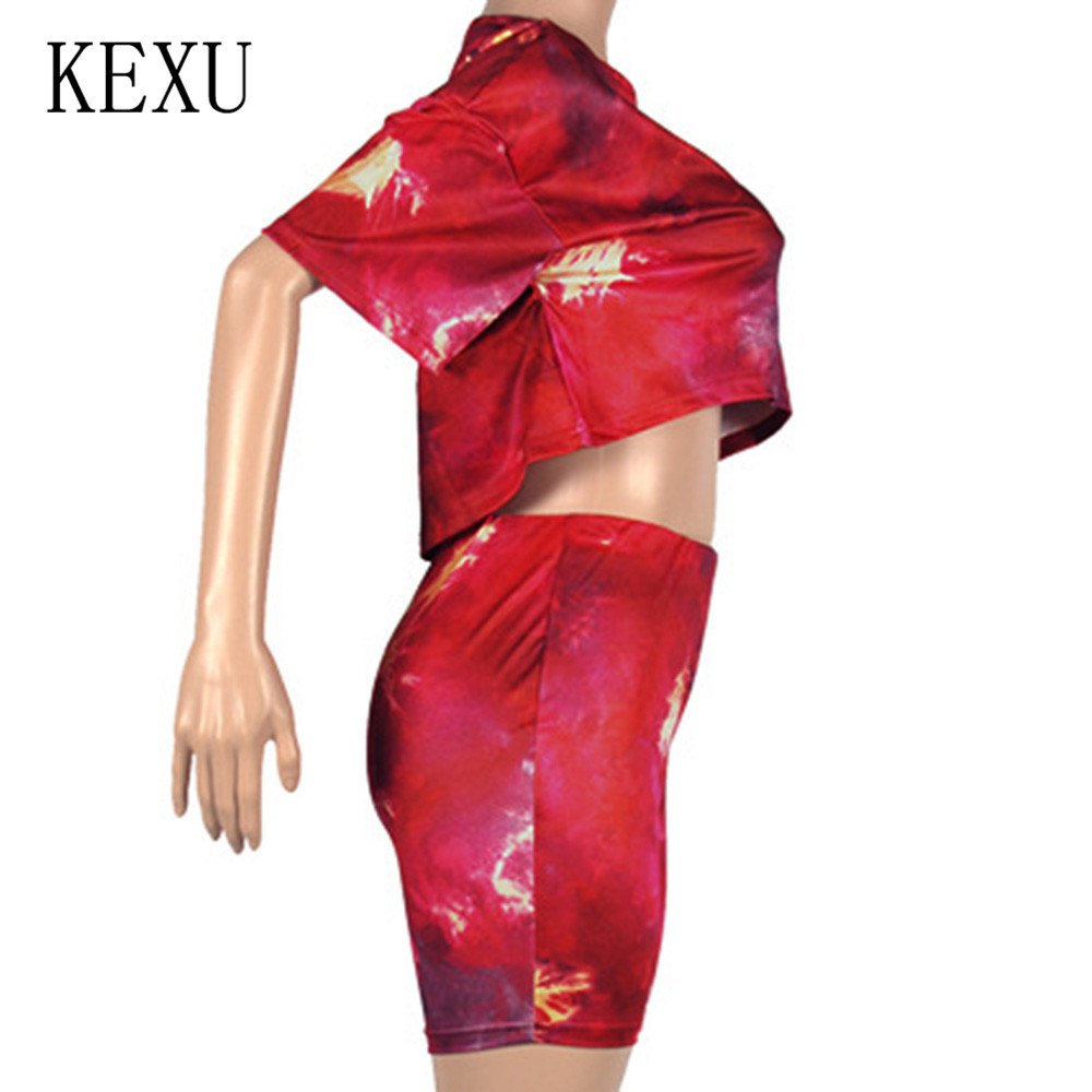 KEXU 2 Pieces Sets Women Casual Vintage O Neck Crop Top and Short Pants Sexy Summer Leisure Tracksuit Women Conjunto Feminino in Rompers from Women 39 s Clothing