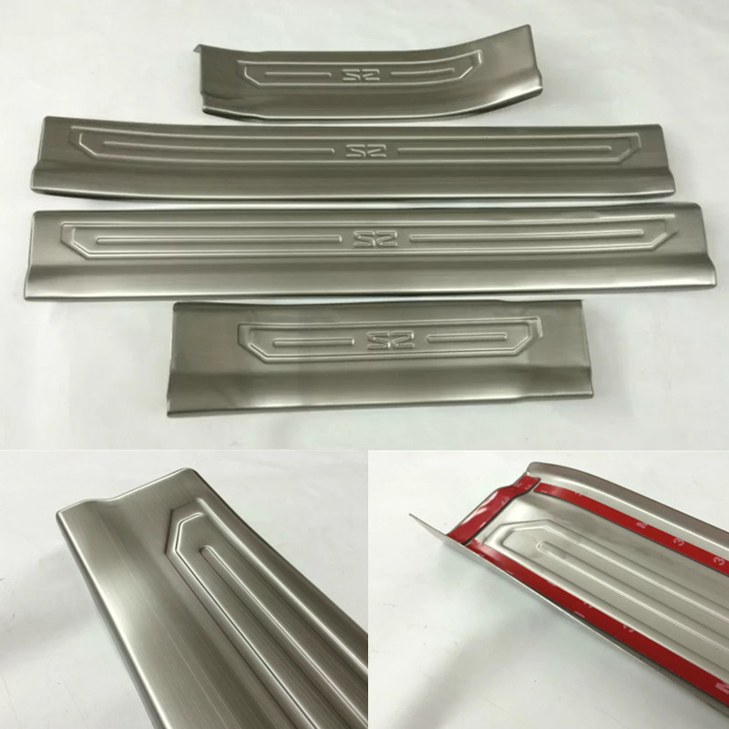 купить car-styling Stainless steel door sill Scuff Plate Cover trim Fit For JAC S2 2015 2016 2017 Car accessories Protector automobiles по цене 1192.49 рублей