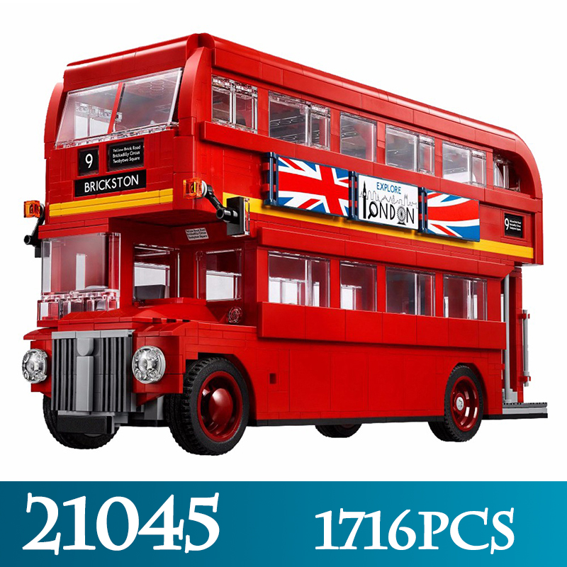 Technic Series 21045 1716pcs The London Bus Model Building Blocks Compitable 21045 LegoINGLYS Double-Decker Bus Bricks Toys Gift lepin 21045 united kingdom britain london double decker bus building kit blocks bricks toy for gift 10258