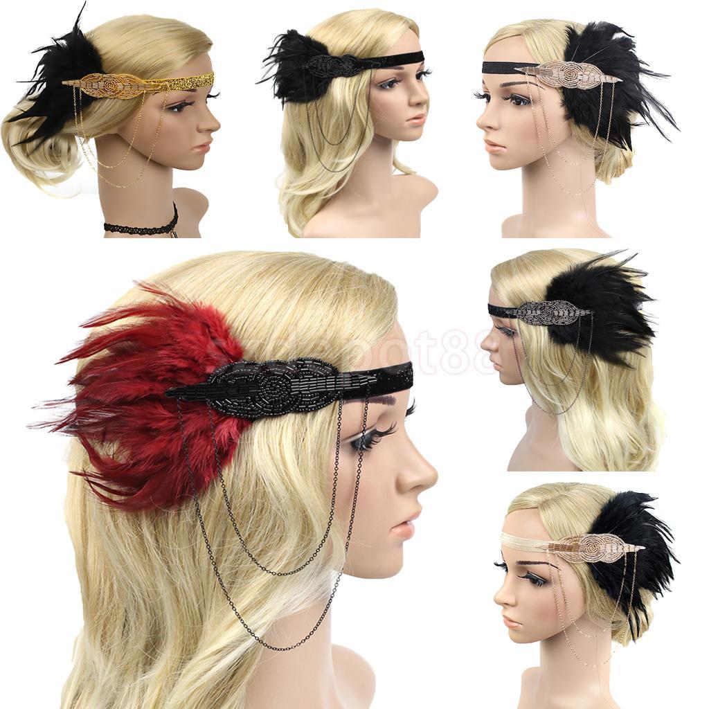 Vintage Feather Tassel Chain Plastic Beads Flapper Fascinator Headband 1920s Charleston Headpiece Women Ascot Race   Headwear