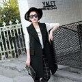 Женщины Длинный Жилет Кардиган Без Рукавов Куртки V-образным Вырезом Осень Британский Стиль Черные Жилеты Показать Тонкий Моды Жилет Женщин Пальто S-XL
