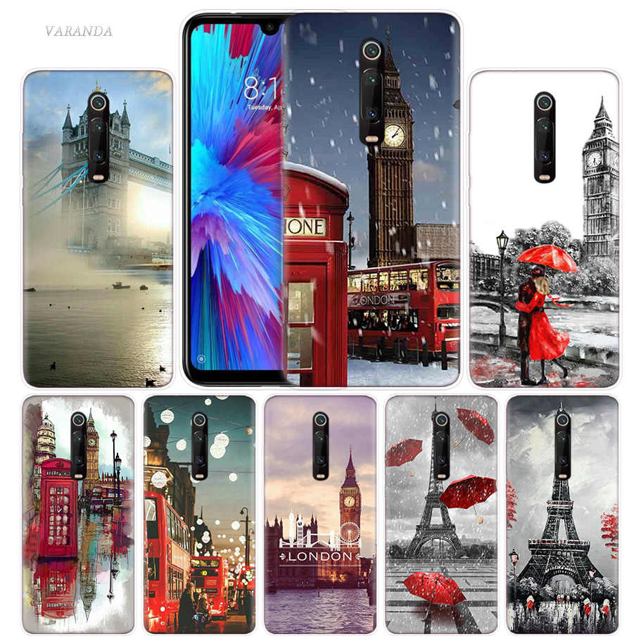 Moda Da Cidade de Londres Caso Eiffel para Xiao mi mi Vermelho Nota 7 7 S K20 Y3 IR S2 6 6A 7A 5 Pro mi Jogar 9 T A1 A2 8 Lite Poco F1 Sacos de Telefone