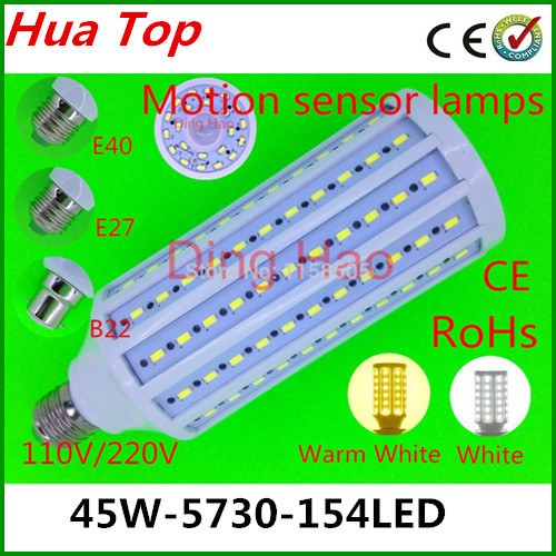 2014 NEW Corn bulb Lamp E27 E40 B22 45W 5730 154 led Motion sensor lamps 110V/220V Body sensors LED Corn Light White/Warm White lole капри lsw1349 lively capris xl blue corn