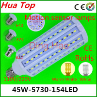 2014 NEW Corn bulb Lamp E27 E40 B22 45W 5730 154 led Motion sensor lamps 110V/220V Body sensors LED Corn Light White/Warm White