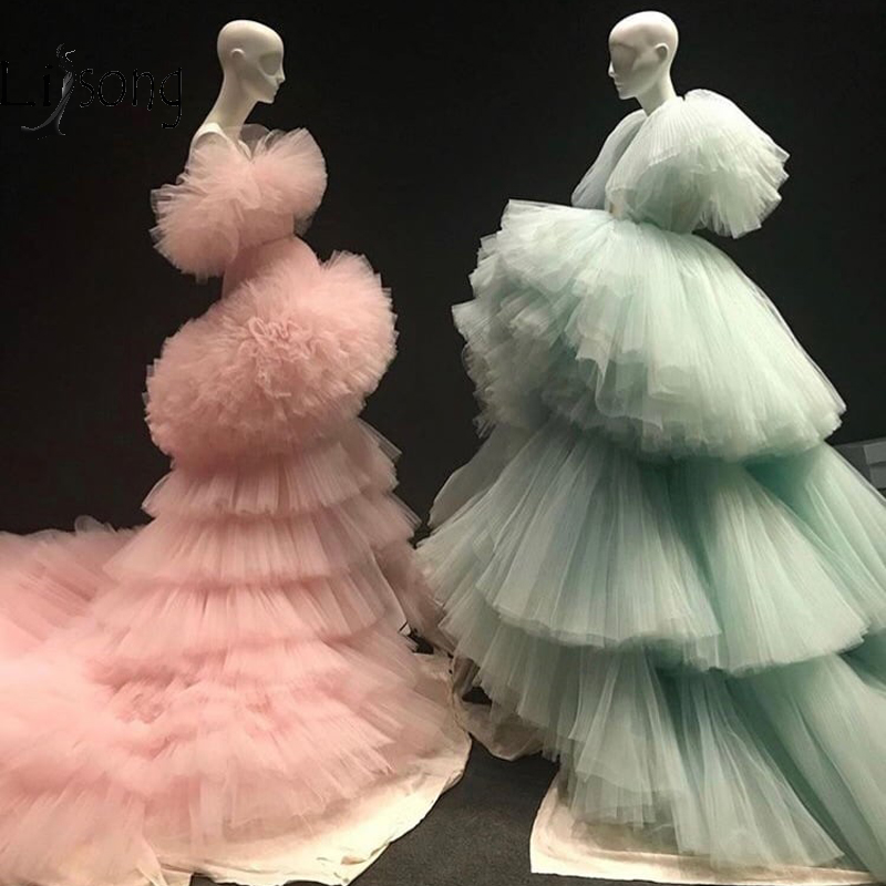 New Trendy Mint Green Tiered Ruched Long Evening Dresses Ruffles Peach Pink Puffy Tutu Prom Gowns  Abendkleider 2019