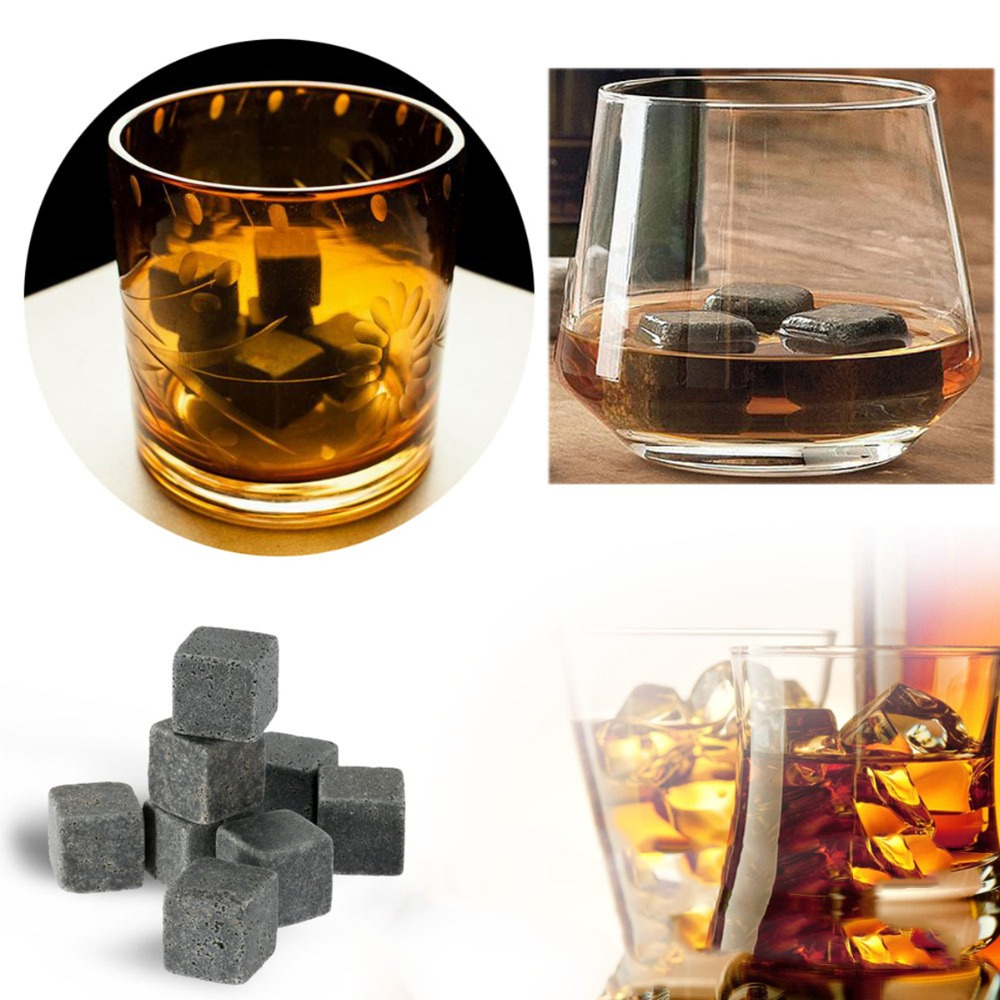 6Pcs 9Pcs Natural Whiskey Stones Sipping Ice Cube Whisky Stone Beer Stone Whisky Rock Cooler Wedding Gift Favor Christmas Bar in Other Bar Tools from Home Garden