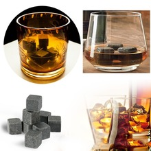 6Pcs/9Pcs Natural Whiskey Stones Sipping Ice Cube Whisky Stone Beer Rock Cooler Wedding Gift Favor Christmas Bar