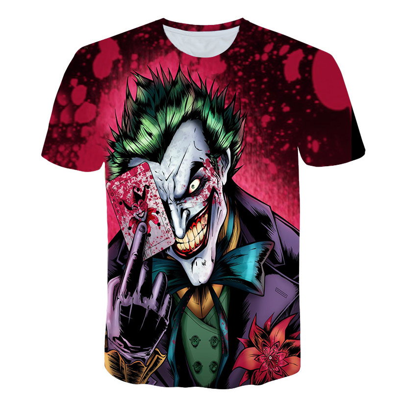 Gothic Horror Half Face T shirt Funny Magic Cards Character Joker Clothing Design 3d t-shirt Print Poker digital Tees Zombie