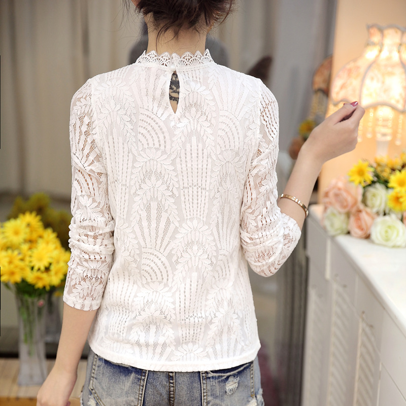 2018 new V-neck lace women tops slim long sleeve solid women blouses shirt white hollow out lace womens clothing blusas D250 30