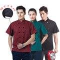 Algodón de moda hombres limited 2016 restaurante del chef chef clothing cruzado con mangas cortas con malla transpirable