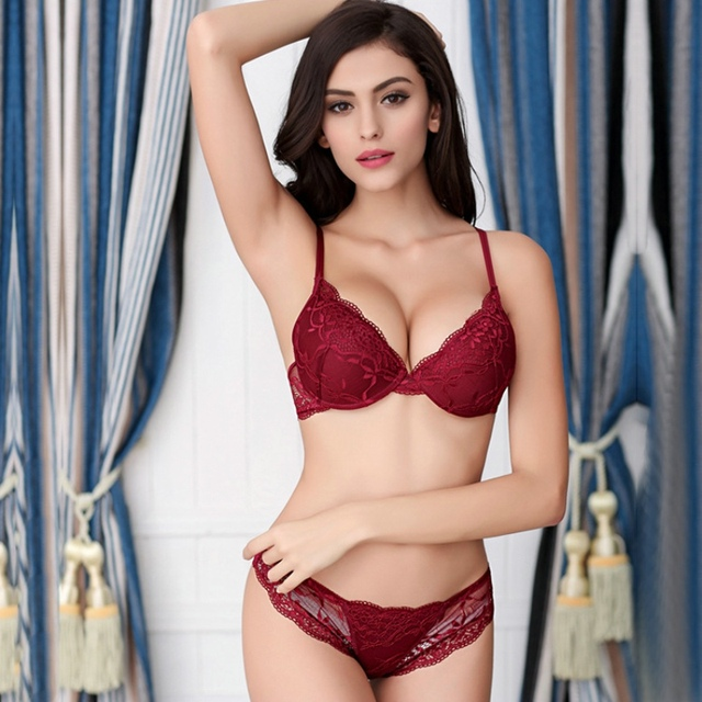 17df4f7b366 E-Bloom Deep V Sexy Floral Lace Push Up Bra Set Matching Transparent Panty  Underwear Up Thin Under Thick Medium Cup Lingerie Set
