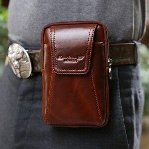 Image 5 - Smartphone pochette de ceinture en cuir véritable étui Vintage pour Iphone 6 6s 7 Plus 5s 4 pochette de ceinture sac à main sac de taille pour 4.5 ~ 6.0 téléphones