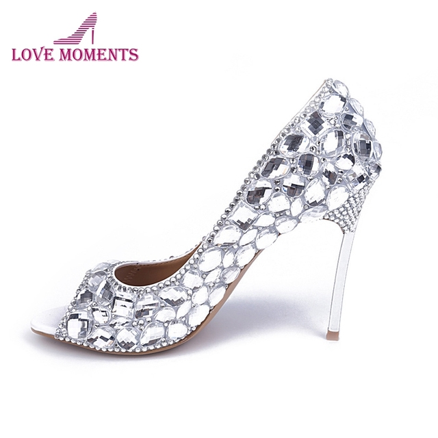 5ecd62a10 Sexy Peep Toe Pumps Crystal Thin High Heels Women Fashion Customized Wedding  Shoes Homecoming Party Dress Shoes Bridal Prom Pump