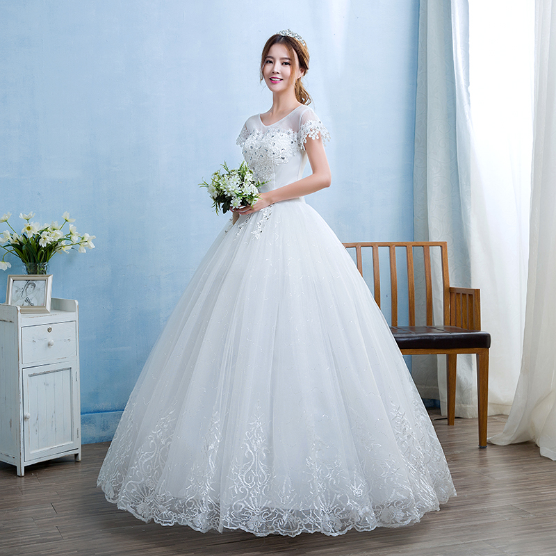 Free shipping White Wedding Ball Gowns Flowers Short Sleeves Cheap ...