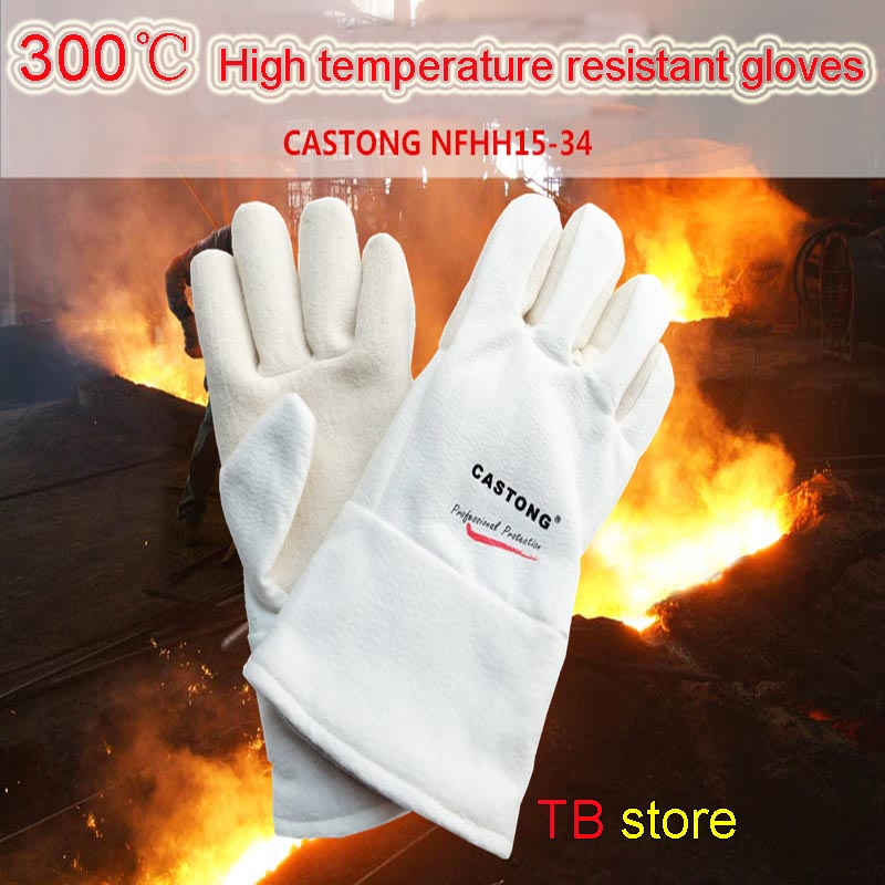 CASTONG 300 degree High temperature gloves EN407 Para-aramid Anti-scald safety gloves High temperature resistant gloves цена