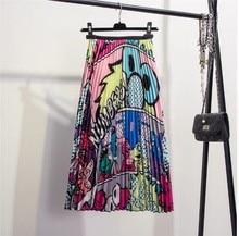 Fun print a-line skirt with elastic waist and pleats in 2019 cartoon animal pattern цена