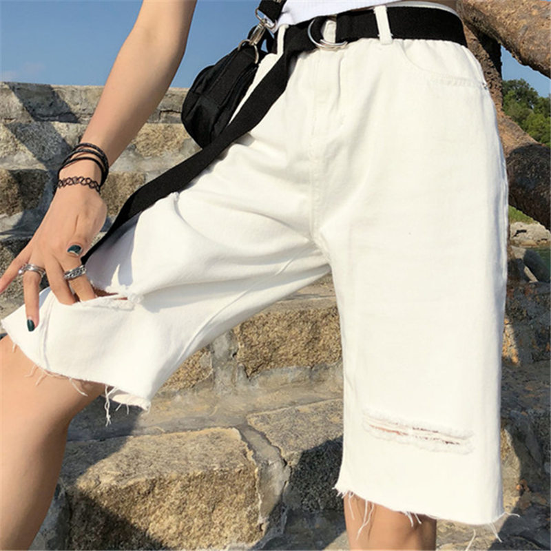 Summer Ulzzang Commuting Vintage Denim   Shorts   2019 Men And Women Harajuku Bf Holes Zipper Button Wide Leg Five Points   Shorts