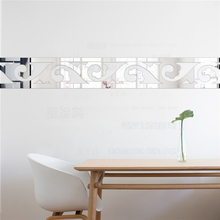 Elegant Scroll Grass Acrylic Mirror Wall Border Stickers Living Room Bedroom Wall Decor Door Tile Sticker Decoration Home R067