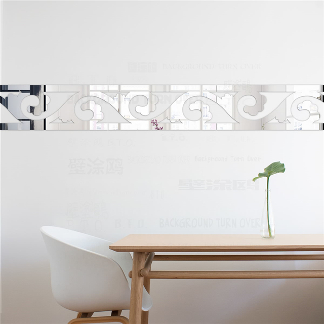 Elegant Scroll Grass Pattern 3D Acrylic Mirror Wall Border Sticker