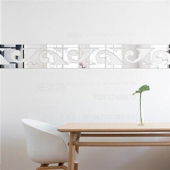 elegante scroll gras acryl spiegel muur border stickers woonkamer slaapkamer muur decor deur tegel sticker decoratie thuis r067
