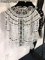 FOMOLAYIME новые вышитые блузки 2018 сексуальная точка сетки вышитые шею перспектива рубашка Для женщин