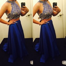 New Mermaid Long Elegant Royal Blue Beaded Two Piece Prom Dress 2015 Evening Dresses