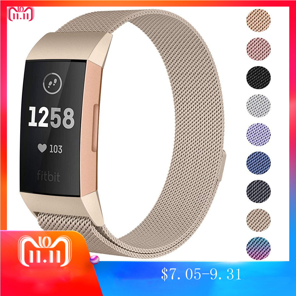 New Milanese loop strap For Fitbit charge 3 band strap bracelet stainless steel belt sports smart watch wristband watch band new best price milanese magnetic loop stainless steel band strap bracelet for huawei honor 3 smart watch drop shipping jan8