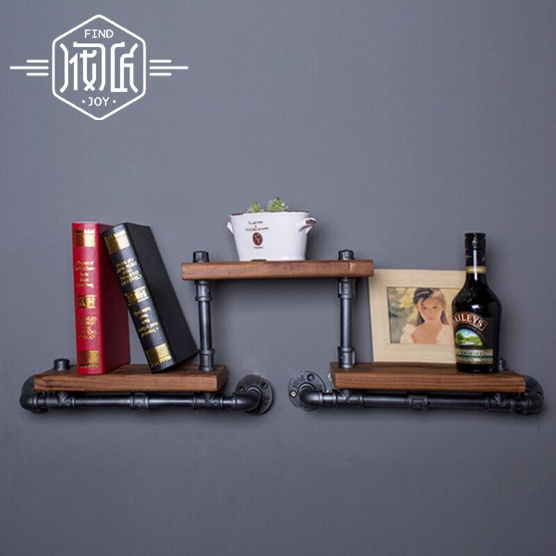 Французский промышленного стиле лофт кованая полка книжный шкаф полки деревянные стены Винтаж водопровод стойку fj-zn1y-009a0