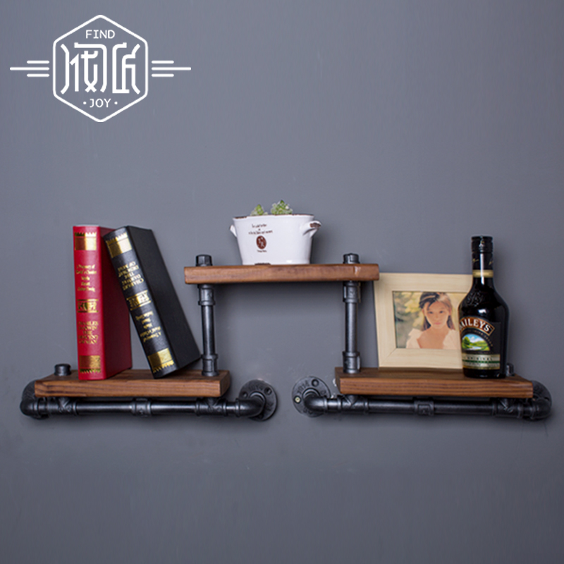 French Industrial Loft-style Wrought Iron Shelf Bookcase Shelf Wood Wall Wall Vintage Water Pipe Rack -FJ-ZN1Y-009A0 цена 2017