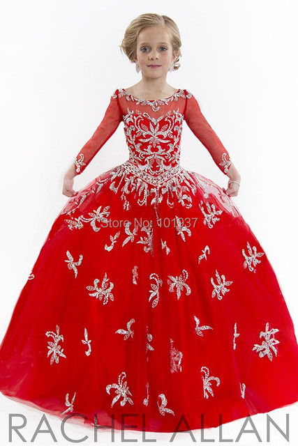 20a6550d11665 Stunning Long Sleeves Flower Girls Dress Red Sheer Illusion Ball Gown  Beading Crystal Girls Pageant Dress Prom Dress Children