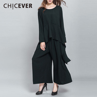 CHICEVER Autumn Two Piece Set Women Long Sleeve Loose Striped T Shirts With Black Elastic Waist