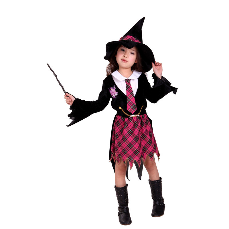 Free Shipping Magician Witch American movie Costume Kids Children Girl Carnival Halloween Masquerade Cosplay Fancy Dress Clothes юбка strawberry witch lolita sk