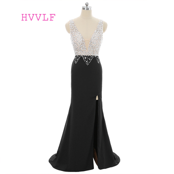 Black 2019 Prom Dresses Mermaid V-neck Crystals Beaded Slit Sexy Long Prom Gown Evening Dresses Evening Gown Robe De Soiree