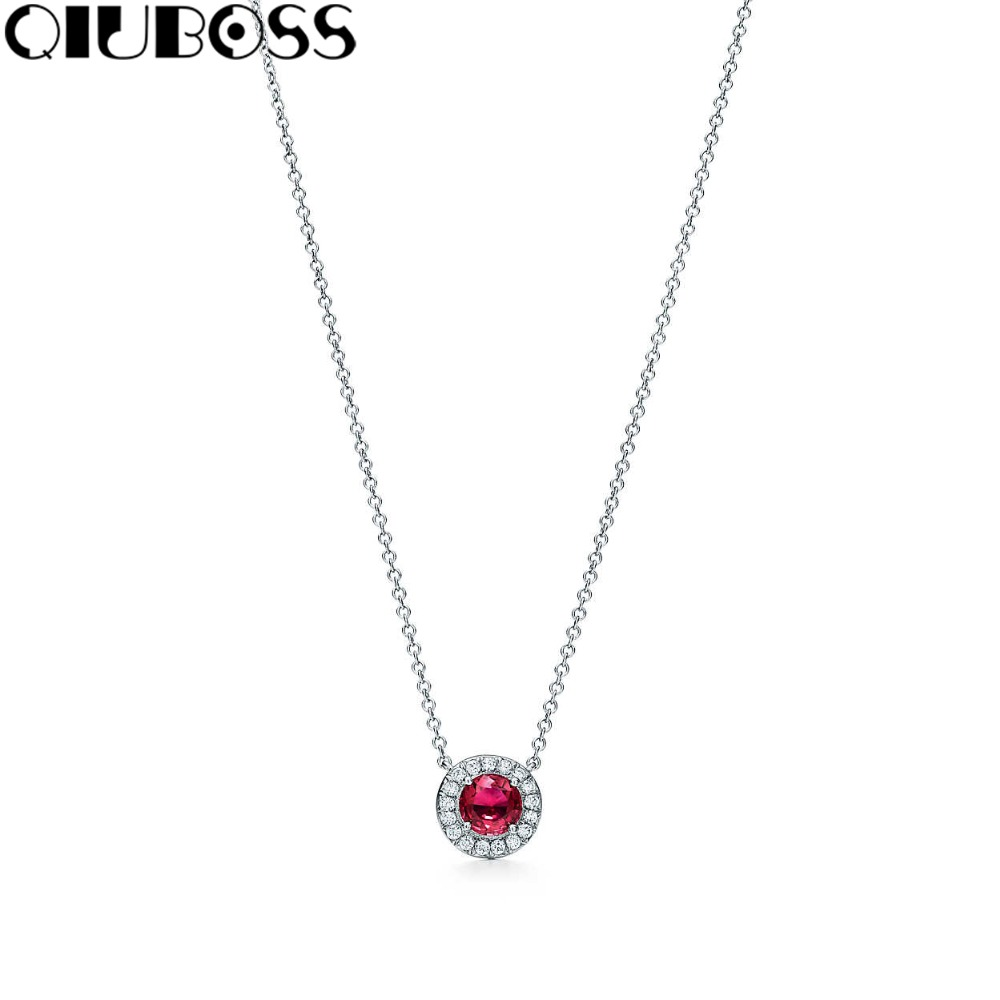 QIUBOSS S925 TiffanySilver Red Crystal Pendants 925 Sterling Silver Pendant Clavicle Ms. Clavicle Necklace qiuboss s925 tiffanysilver fashion woman round pendant 925 sterling silver pendant clavicle ms clavicle necklace