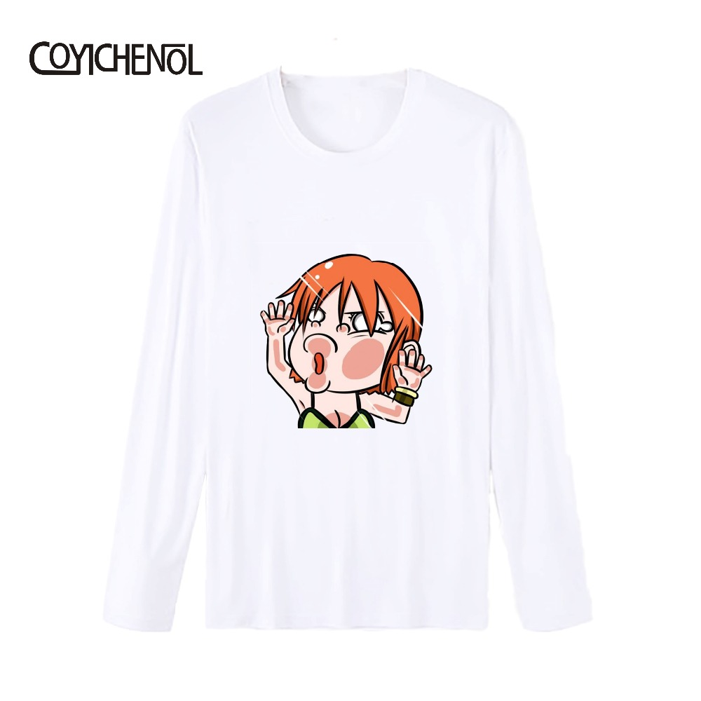 One piece Anime O neck Monkey D Luffe Cute Man T shirt cosplay Print plus size long sleeve Modal T shirt COYICHENOL in T Shirts from Men 39 s Clothing