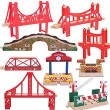 Amigos ponte de madeira estação de ônibus de trem de madeira faixas conjunto de acessórios de trem peças de pista blocos brinquedos bloques construccion