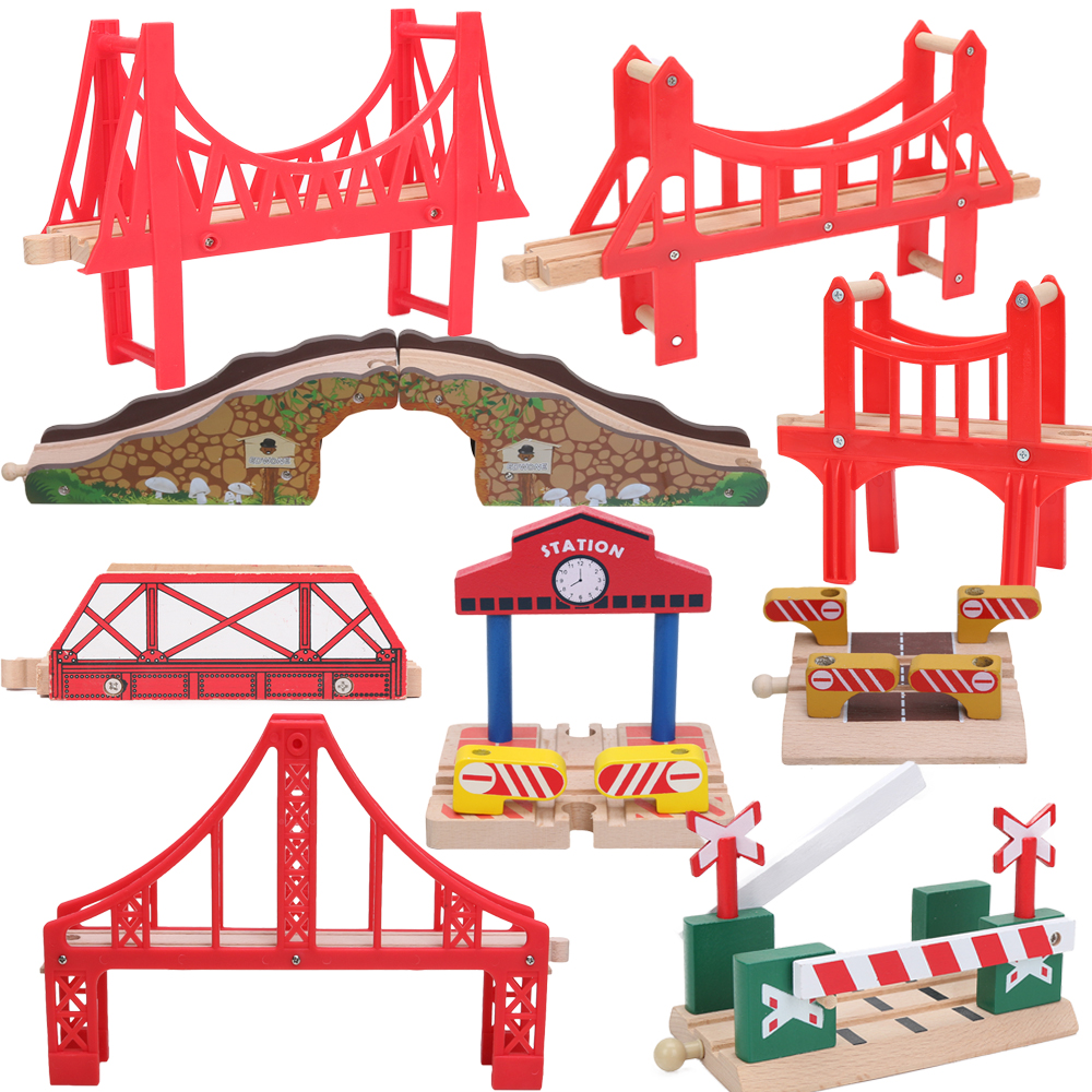 Friends Wooden Bridge Bus Station Wooden Train Tracks Set Train Accessories Track Pieces Blocks Toys bloques construccion