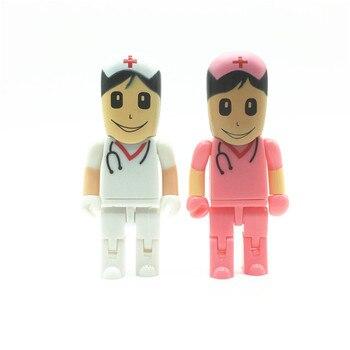 Doctor nurse model pendrive usb flash drive 64gb 32gb 16gb 8gb USB 2.0 pen drive memory storage usb stick u disk best gift