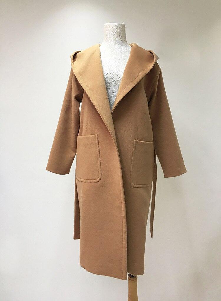 Manteau long beige camel femme