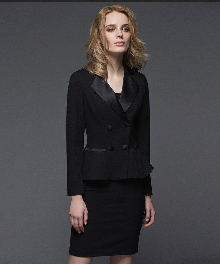 Женские костюмы с юбкой фото черный