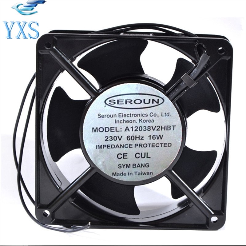 A12038V2HBT AC 230V 16W 60HZ 12038 12CM 120*120*38mm 2 Wires Metal Aluminum Frame Cooling Fan delta afb1212hhe 12038 12cm 120 120 38mm 4 line pwm intelligent temperature control 12v 0 7a