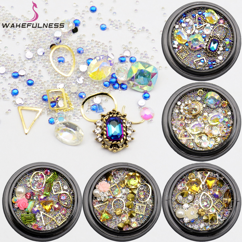 WAKEFULNESS Glass Rhinestones Crystal Nail Studs Mix Mini Caviar Nail Art Beads Nail Alloy Gemstones Charms 3D Decorations 3d charms glitter nail art decorations mix irregular beads rhinestones alloy studs design manicure nail gel laser paillettes