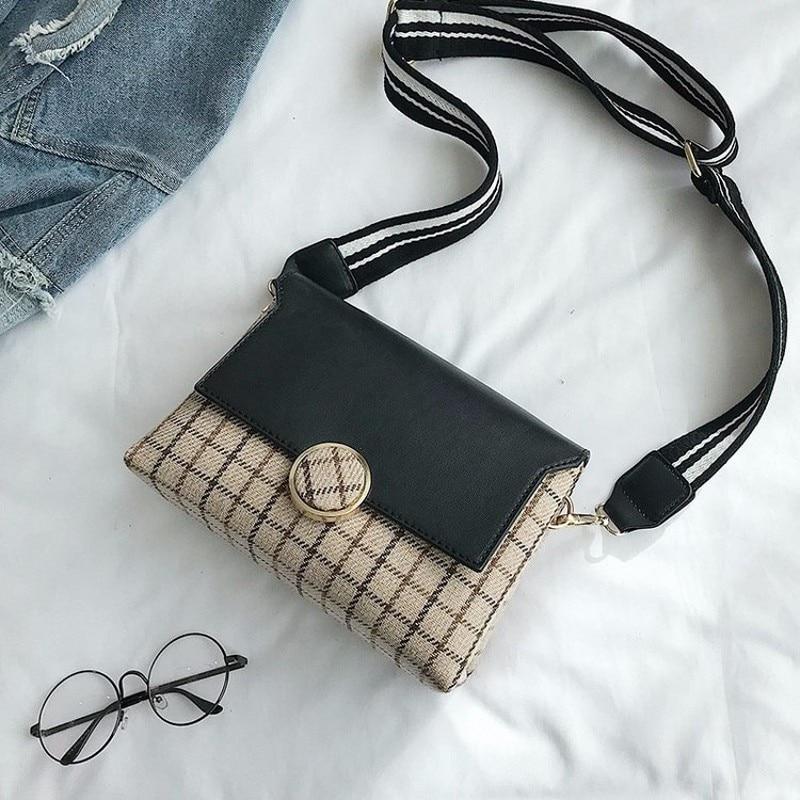 Woolen cloth Messenger Bag England Style grid Crossbody Bag Temperament joker Fashion Vintage Bag New 2018 Cute Shoulder Bag